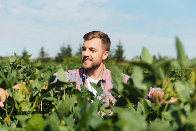 Портрет счастливого молодого фермера, осматривающего плантации сои. сельскохозяйственная промышленность
