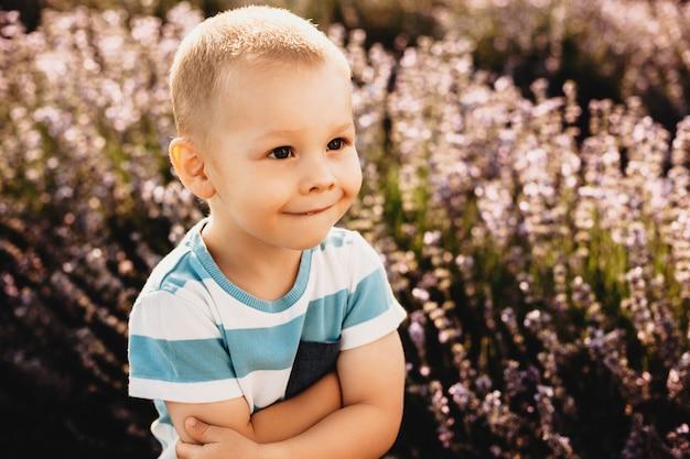 Портрет милого маленького ребенка, смотрящего руками, скрещенными на открытом воздухе в поле цветов.
