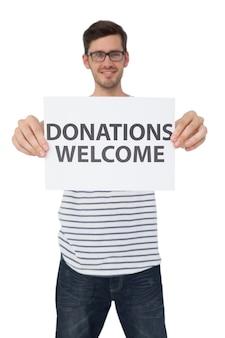 寄付を歓迎している人の肖像