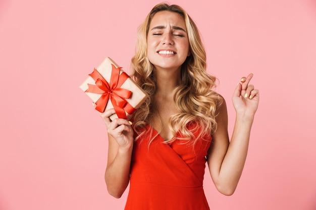 Портрет довольно возбужденной нервной молодой милой блондинки, позирующей изолированной над розовой стеной, держащей подарочную коробку, обнадеживает, пожалуйста, скрестив пальцы.
