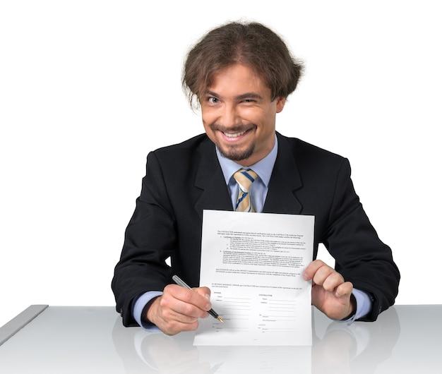 계약을 보여주는 천박한 사업가의 초상화