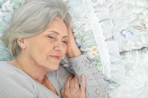 초상, 의, 잠자는 고위 여자, 침대에서
