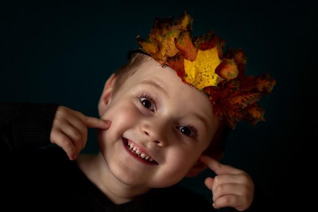 暗い壁に彼の頭に葉の冠を持つ笑顔の4-6子供の肖像画