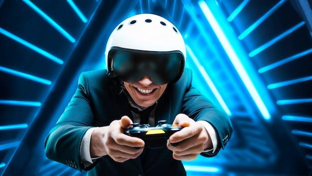 彼の手にジョイスティックを持つ笑顔の男の肖像画。 esports。ゲームのコンセプト。ミクストメディア