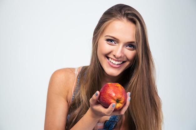 사과 들고 웃는 여자의 초상화
