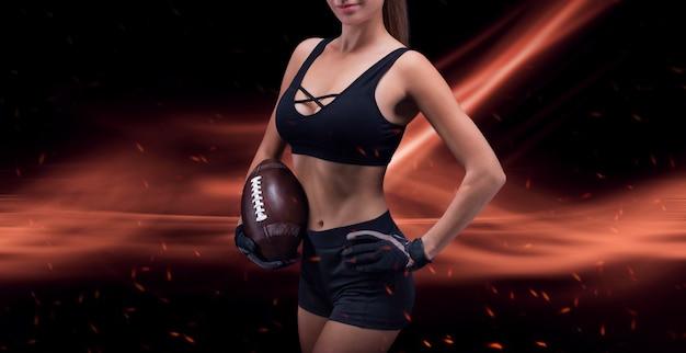 미식축구팀 선수의 유니폼을 입은 낚시를 좋아하는 소녀의 초상화. 스포츠 개념입니다. 미래의 배경입니다. 혼합 매체