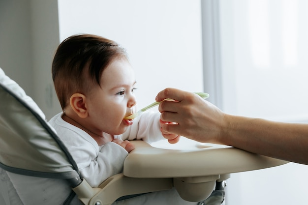 Портрет милого ребенка, которого кормят детским питанием с ложки, вид сбоку, кавказская мать кормит ее ...