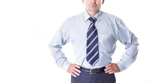 思いやりのあるビジネスマンの肖像画。白で隔離