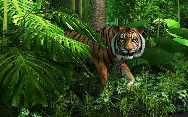 野生のトラの肖像画。ジャングルの中からカメラを見つめている怖そうな男性のロイヤルベンガルトラ。