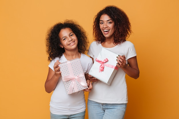 2人のかなりアフロアメリカンの姉妹の肖像