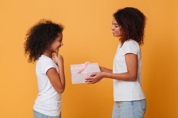 2つの笑みを浮かべてアフロアメリカンの姉妹の肖像