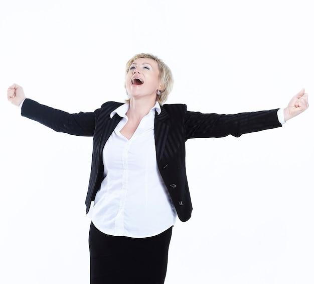 복사 공간 white.photo에 매우 행복 비즈니스 woman.isolated의 초상화