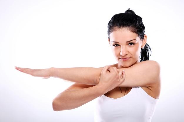 운동을하는 여자의 초상화