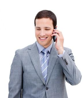 電話で若い実業家の肖像画