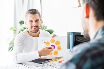 Portrait of a young businessman with graph in office