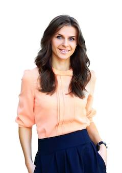 自信を持って笑顔の若いビジネス女性の肖像画