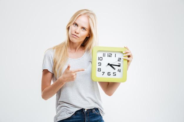 白い壁に分離された壁時計に指を指している若い女性の肖像画