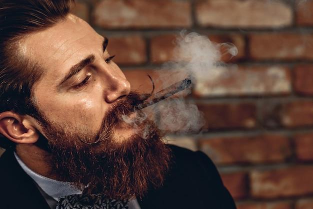 茶色の葉巻を吸って、煙が部屋の周りを飛んでいるハッサーの口ひげとあごひげを持つ魅力的なシャーミング男の肖像画。中毒の概念
