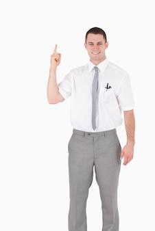 Портрет служащего, указывая на что-то
