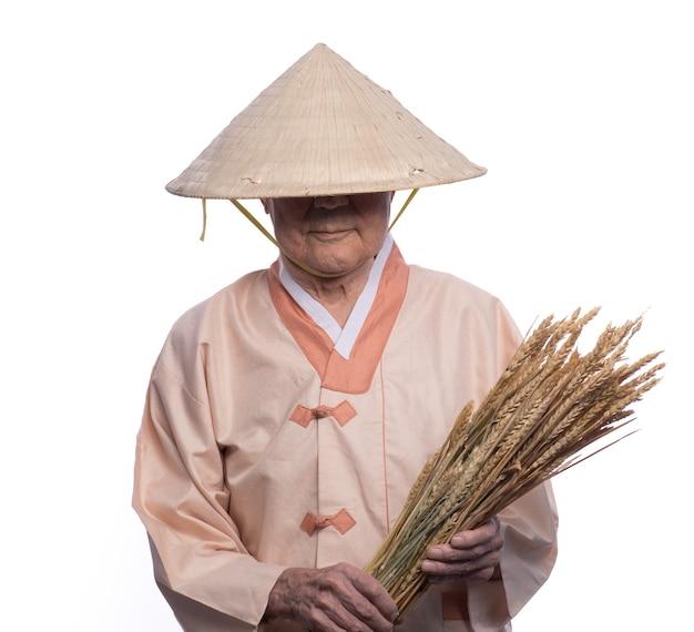 밀짚모자를 쓴 중국노인의 초상