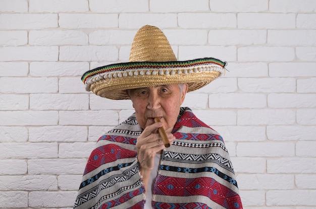ソンブレロの老人メキシコ人の肖像画