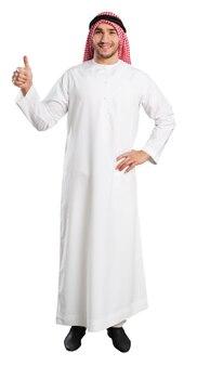 흰색 배경에 빈 공간이 있는 엄지손가락을 보여주는 아라비아 남자의 초상화