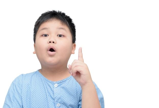 그는 아이디어 또는 솔루션, 감정 개념을 얻을 때 표정으로 아시아 비만 뚱뚱한 소년의 초상화