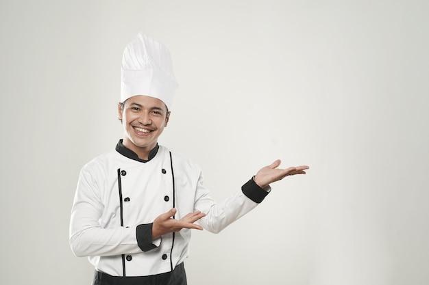 アジアの笑顔のシェフの肖像画