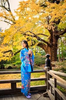 日本の秋の公園で日本の青い着物を着ているアジアの女性の肖像画