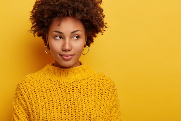 魅力的なブルネットの女性の肖像画はさておき、真剣な表情を持っており、黄色の背景に対して魅力的に立って、化粧をしていない、暖かいセーターを着ています