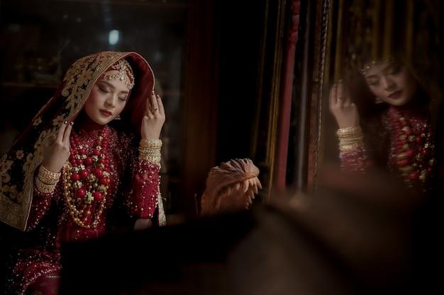 아름 다운 인도 여자의 초상화