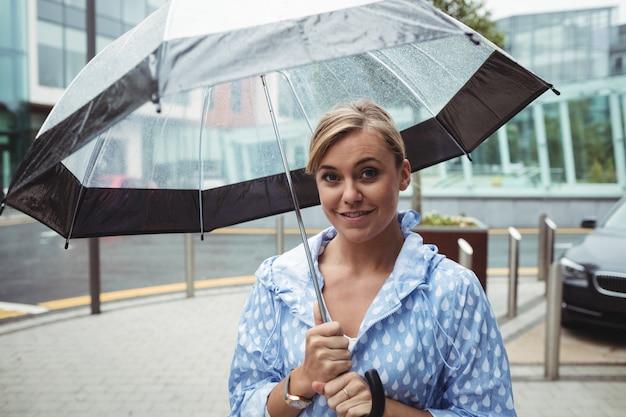 傘を保持している美しい女性の肖像画
