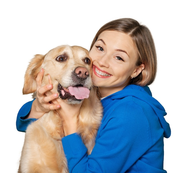 배경에 강아지와 함께 아름 다운 여자의 초상화