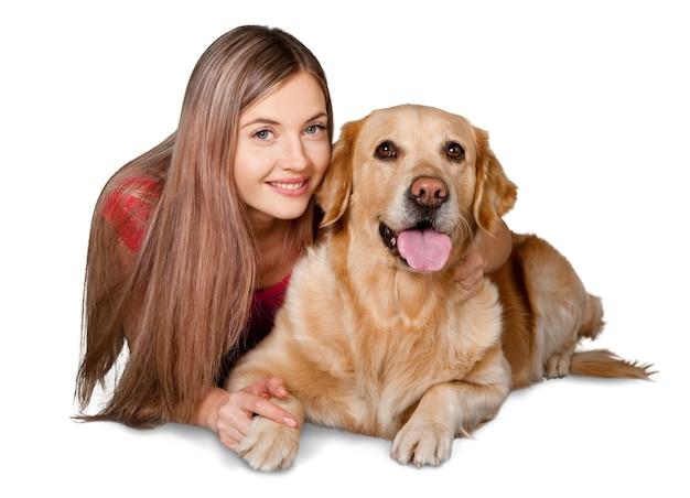 흰색 바탕에 강아지와 함께 아름 다운 여자의 초상화