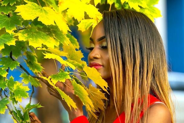 가 아름 다운 젊은 아프리카 여자의 초상화 단풍 배경