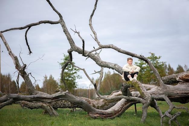 가을 공원에서 죽은 나뭇 가지에 앉아 소년 십대의 초상화