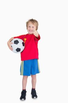 サッカー、身に着けている、親指