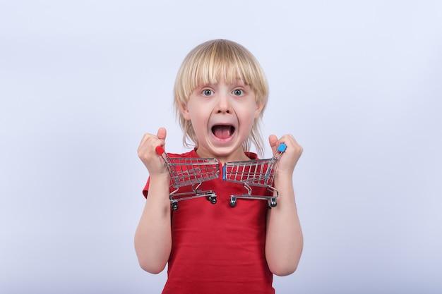 Портрет мальчика с тележкой покупок 2 игрушек. покупка детской концепции