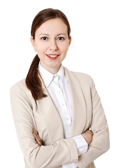 孤立したスーツに身を包んだビジネス女性の肖像画