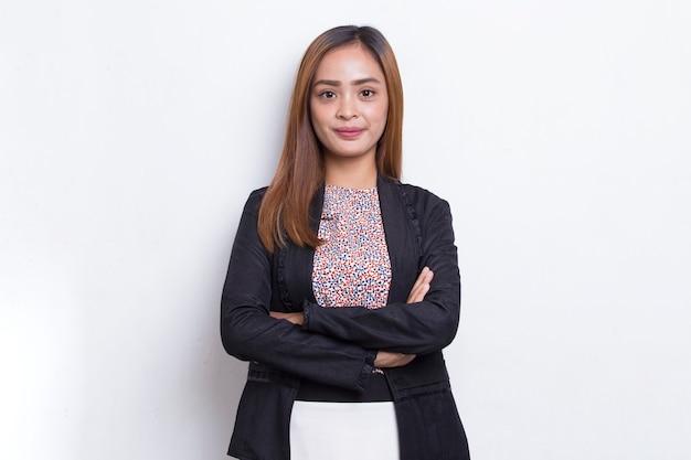 白い背景で隔離のビジネス若いアジアの女性の肖像画