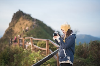 Portrait of cute asia girl at the mountain