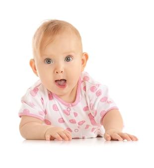 白のかわいい赤ちゃんの肖像画