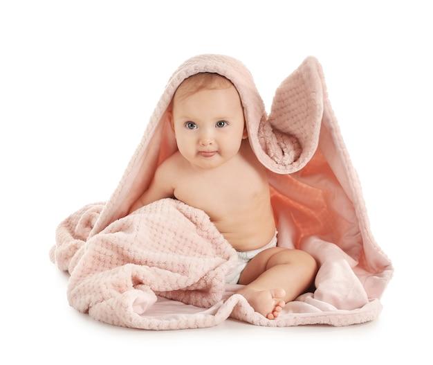 白地にチェック柄のかわいい赤ちゃんの肖像画