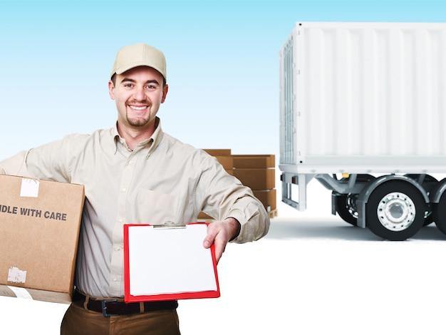 Портрет доставщика и грузовик фон