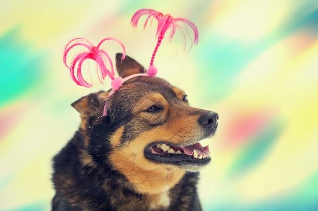 크리스마스 머리띠를 한 강아지의 초상화