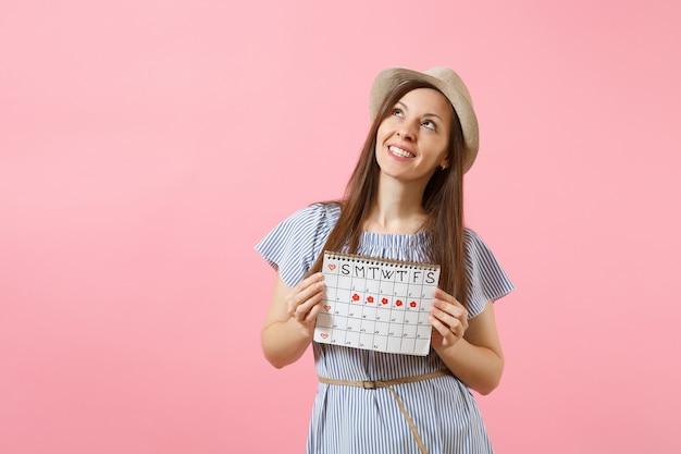 파란 드레스를 입은 꿈꾸는 여성의 초상화, 밝은 분홍색 배경에 격리된 월경일을 확인하기 위한 기간 달력을 들고 있는 모자. 의료 의료, 부인과 개념입니다. 복사 공간