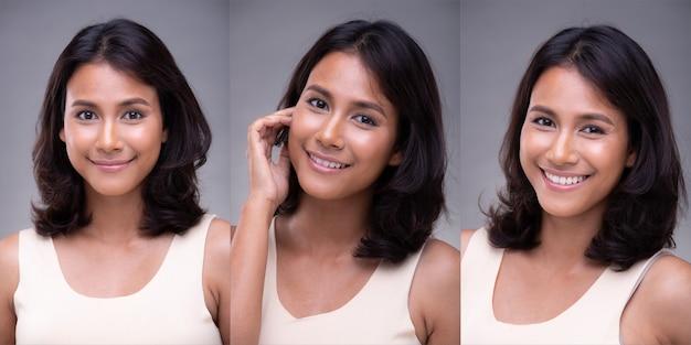 패션 20대 아시아 여성의 초상화는 아름다운 얼굴을 가지고 있고, 그녀는 흰색 셔츠를 입고, 회색 배경 위에 하얀 치아로 행복한 미소를 짓고, 3개의 콜라주