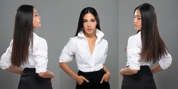 Портрет модной азиатской женщины 20-х годов имеет красивые длинные прямые волосы, она поворачивает заднюю сторону, чтобы показать детали линий волос на белом фоне.