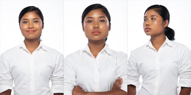 패션 10대 아시아 여성의 초상화에는 브러시와 컬러 립스틱에 아름다운 업데이트 메이크업 아티스트가 있고, 그녀는 세련된 아이템을 입고, 흰색 배경에 격리된 강한 느낌의 포즈를 취합니다.