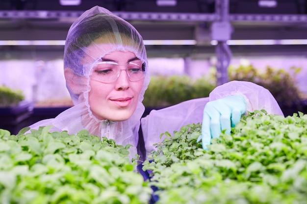 青い光、コピースペースに照らされた保育園の温室で作業しながら植物を調べる女性の農業技術者の肖像画
